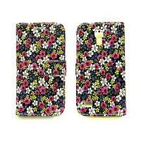 Case For Samsung Galaxy S4 Wallet Flip PU Leather Pink Yellow White Flower Cover