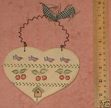 Wooden Heart with Blue Birds and cherries