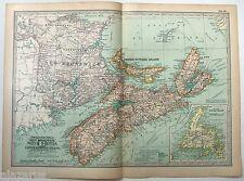 Original 1902 Map of New Brunswick, PEI & Newfoundland by The Century Company