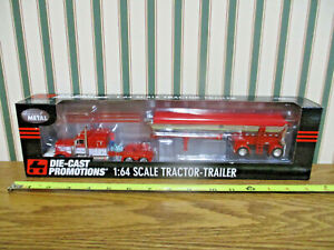 Red & White Peterbilt 379 Semi With Chrome MAC Dump Trailer By DCP 1/64th Scale