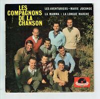 """LES COMPAGNONS DE LA CHANSON Disque 45T 7"""" EP LES AVENTURIERS - POLYDOR 27060"""