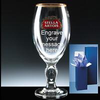 Personalised Stella Artois Engraved Branded 1Pint Glass + Gift Box Birthday Xmas