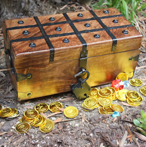 Handmade Pirate Wooden Storage Chest Flat Lid with Antique Iron Lock