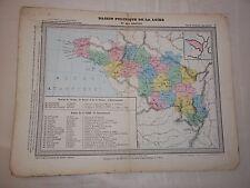 ANCIENNE CARTE / BASSIN POLITIQUE DE LA LOIRE / HACHETTE / CIRCA 1870 - 1875