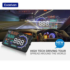 "5.5"" LCD Digital Auto HUD Projector Head Up Car Speed Warning Fuel Speedometer"