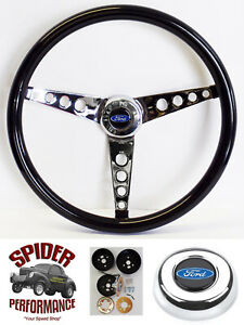 "70-77 T-Bird Maverick LTD steering wheel BLUE OVAL 15"" GLOSSY GRIP"