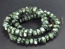 """SERAPHINITE CLINOCHLORE NECKLACE BEADS FROM RUSSIA - 19"""" - 8mm RONDELLE BEADS"""