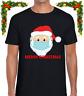MERRY CHRISTMAS SANTA MASK MENS T SHIRT XMAS FESTIVE COOL FUNNY TOP