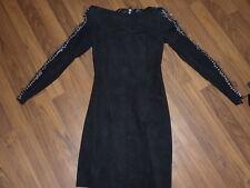 BALMAIN PARIS black suede Mini Dress Safety Pins NWT FR 36 EUR 34