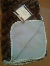 Reversible Rose Rosette Baby Stroller Blanket Throw Brown Blue Looks Faux Fur