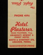 1940s Hotel Plasterer Isaac Ninth & Chestnut Sts Phone 4096 Lebanon PA Matchbook