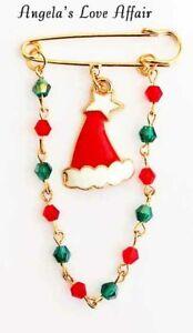 Christmasy Emaille Weihnachtsmann Santa Hut Perlen Kette Sicherheitsnadel Brosche