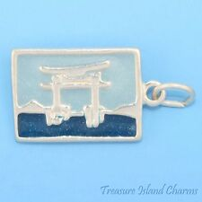 JAPAN ENAMEL TORII GATE POSTCARD .925 Solid Sterling Silver Charm MADE IN USA