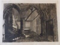 Original Old  Etching of  an INTERIOR OF AN OLD HOUSE in Suffolk? signed