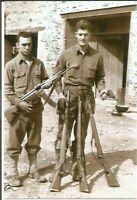 Usa WW II   Photo --     Two Soldiers with Captured Rifles & Gun