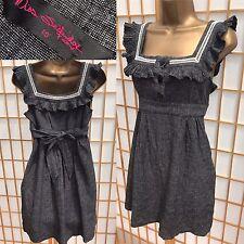 Miss Selfridge Grey Linen Tunic Dress Size 10 (8) Strappy Pinafore Style 515
