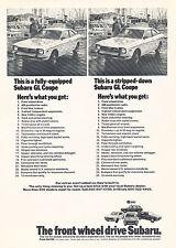 1973 Subaru GL Coupe List Original Advertisement Car Print Ad J365