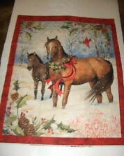 Christmas Horses Snowflakes Red Birds Winter Quilt SquareWall Panel CottonFabric