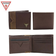 Guess Men's Brown Leather Billfold Brown Wallet