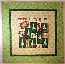 """Art Quilt Wall Hanging Forest Through the Tress 33"""" x 33"""" Handmade Quilted"""