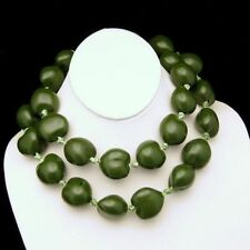 Vintage Super Chunky Green Beads Long Necklace Baroque Shaped Wood Nuts