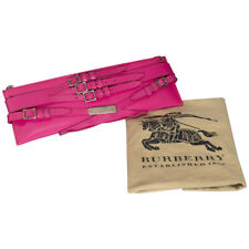 Burberry Pink Patent Leather Bridle Elongated Clutch Bag