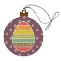 Cute Rainbow Happy Easter Egg Wood Christmas Tree Holiday Ornament