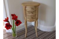 Teak Wood Hand Carved Wooden Bedside Cabinet Table Round / Unfinished