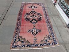 Shabby Chic Worn Vintage Hand Made Traditional Pink Wool Long Rug 240x127cm