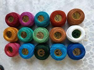 15 Balls Madam Tricote COTTON PERLE No:8 Assorted Colors. Set 2. UK STOCK