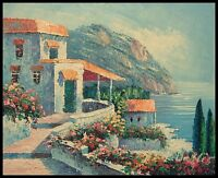 """Mediterranean Scene, 10""""x8"""" Oil Painting on Canvas, Hand Painted"""