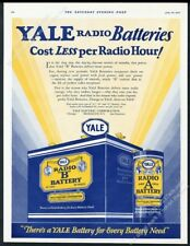 1927 Yale Battery A cell B radio batteries art vintage print ad