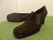 Liz Claiborne ANANDALE Brown Suede womens 9 Chunky heels slip on mule clog shoes