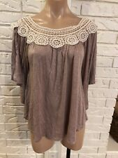 WILLI SMITH WOMENS BEIGE IVORY LACE DOLMAN SLEEVE BLOUSE TOP SHIRT SZ M NWOT NEW