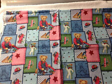 Springs Industries blue jean teddy and friends patch fabric15 x 45 quilting