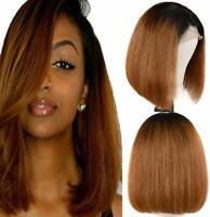 Ombre Straight Bob Wig Glueless Lace Front Wigs 1b30 ombre auburn human hair wig