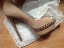 Brian Atwood Suede Peep Toe Nude 8
