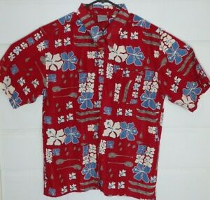 Flowers Boats Ores Hawaiian Pacific Cliff Vintage 90's Button-Front Shirt Large