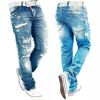 NEW Men's Ripped Jeans Denim Trousers Straight Distress Destroyed Biker Pants