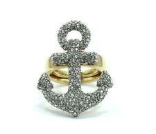 Nautical ANCHOR Symbol Icon JUICY COUTURE Rhinestone Gold Plate Ring