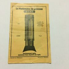 INSTRUCTIONS MANUAL IN FRENCH FOR EARLY BEWI TUBULAR EXPOSURE LIGHT METER