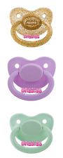 Adult Pacifier Triple Pack - Gold, Lavender & Mint Green   Adult Baby ABDL DDLG