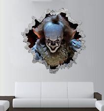 Pennywise 3D Wall Break Sticker - IT Clown Art - Halloween Decal - Window Scary