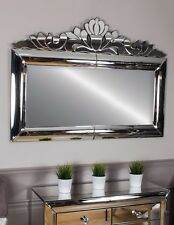 Mirrored Glass Frame Chrome Rectangular Wall Contemporary Modern Over mantle