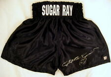 Sugar Ray Leonard Autographed Signed Black Boxing Trunks ASI Proof