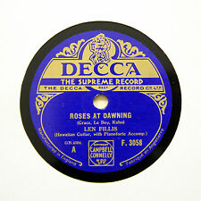 "LEN FILLIS (Hawaiian Guitar) ""Roses At Dawning"" 1932 (E+) DECCA F-3058 [78 RPM]"