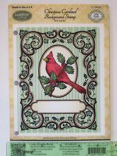 JustRite Stamp CHRISTMAS CARDINAL Cling Background Stamp bird holly frame