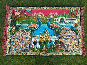 """Vintage Peacock Bird Wall Tapestry Hanging Turkish Boho Guney Sanayi 39"""" x 59"""""""