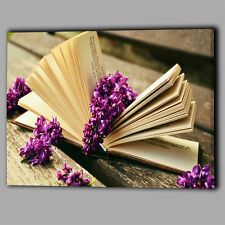 Book Lilac Flower Canvas A2 Large Wall Art Picture Gift Blossom Love Read Purple