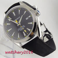 41mm Corgeut Black dial date sapphire Glass Miyota automatic movement mens Watch